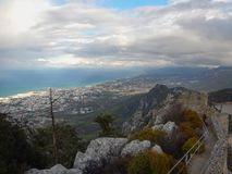 Mediaval fort st hilarion castle. In northern cyprus royalty free stock image