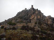 Mediaval fort st hilarion castle. In northern cyprus royalty free stock photography