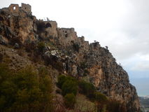 Mediaval fort st hilarion castle. In northern cyprus stock photo