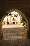 Mediaval town of Monpazier stock photo