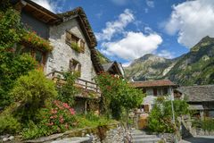 Mediaval village of Sonogno at the end of Val Verzasca in Switzerland. Mediaval village of Sonogno at the end of Val Verzasca in canton of Ticino, Switzerland royalty free stock image