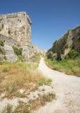Mediavla castle walls on Rhodes, Greece Stock Photos