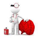 Medic with big red brain. Isolated over white background Stock Photography