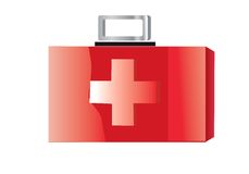 Medic box. Red medic bag on a white Royalty Free Stock Images