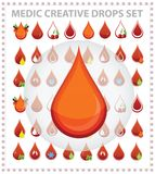 Medic creative blood drops symbols and sign Stock Photography