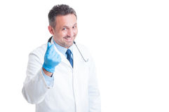 Medic or doctor asking for money and bribe gesture Stock Photography