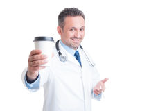 Medic or doctor having coffee and cigarette break Royalty Free Stock Image