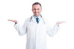 Medic or doctor holding blank copy space on both hands Stock Images