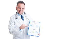Medic or doctor showing marketing charts Royalty Free Stock Photos