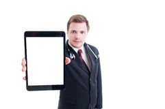 Medic or doctor showing tablet with empty white screen display Stock Image