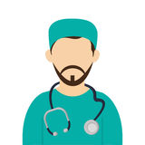 Medic or doctor with surgery outfit and stethoscope icon Stock Photo