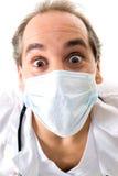 Medic doctor surprise stethoscope medical mask. Medic surprise with stethoscope and medical mask on white background stock photography