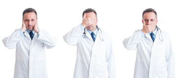 Medic or doctor in three stances blind, mute and deaf Stock Photos