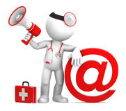 Medic with email sign. Isolated on white Stock Image