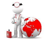 Medic with globe. Global medical services concept Stock Images