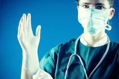 Medic with gloves ready for surgery Stock Photography