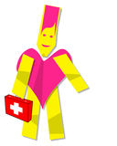 Medic Health care Heart man. Illustration of Heart man medic clipart with a first aid kit Stock Photos