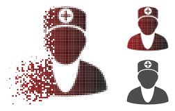 Decomposed Pixelated Halftone Medic Icon. Medic icon in dispersed, dotted halftone and undamaged whole versions. Points are composed into vector dissipated medic stock illustration