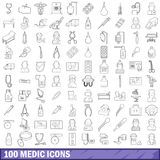 100 medic icons set, outline style. 100 medic icons set in outline style for any design vector illustration Royalty Free Stock Photos