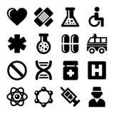 Medic Icons Set on White Background. Vector. Illustration Royalty Free Stock Photo