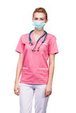Medic with medical mouth protection Royalty Free Stock Photo