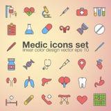 Medic, medicine, health care color icons set, vector illustration of human organs. Medic, medicine, health care color icons set, vector illustration of human Stock Photography