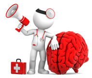 Medic with megaphone and big red brain. Isolated over white background Royalty Free Stock Image