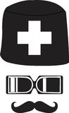 Medic. Moustaches and eyeglasses icon Royalty Free Stock Photography
