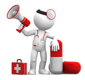 Medic with a pill and megaphone. On white background Royalty Free Stock Images