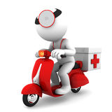 Medic on scooter. Emergency medical service concept. Isolated on white Royalty Free Stock Photography