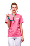 Medic with stethoscope Royalty Free Stock Image