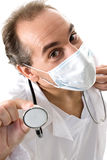 Medic with stethoscope and medical mask. Medic with stethoscope and medical mask on white background Stock Image