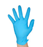 Medic wearing a blue latex gloves Royalty Free Stock Images