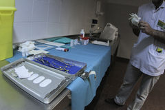 Medic working at morgue 002 stock photo