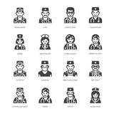 Medica ícones lisos do glyph das profissões Ocupações médicas - cirurgião, cardiologista, terapeuta do dentista, médico, enfermei Fotografia de Stock Royalty Free