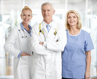 Medica staff. Portrait of successful medical staff standing at private clinic Royalty Free Stock Image