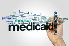 Medicaid word cloud. Concept on grey background Royalty Free Stock Image