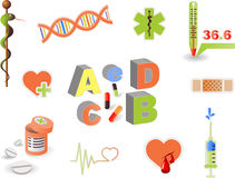 Medical_1. Set of vector symbols on  medicine Stock Photo