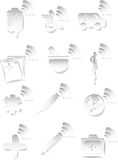 Medical 3D Icon Set - Black and White. Set of black and white medical themed icons in a 3D style Royalty Free Stock Photography