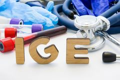 Medical abbreviation IGE in laboratory diagnostics. Letters, create words IGM, meaning Immunoglobulin E antibody, are surrounded b. Y test tubes with blood stock photos