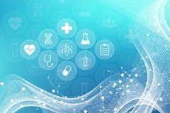 Medical abstract background with health care icons. Medical technology network concept. Connected lines and dots, wave. Flow, molecules, DNA. Medical background stock illustration