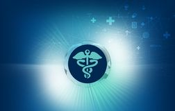 Medical abstract background health care symbols with connection. Medical abstract background, health care symbols with connection lines, blue theme background Royalty Free Illustration