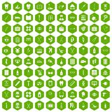 100 medical accessories icons hexagon green. 100 medical accessories icons set in green hexagon isolated vector illustration Stock Photography