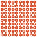 100 medical accessories icons hexagon orange. 100 medical accessories icons set in orange hexagon isolated vector illustration royalty free illustration
