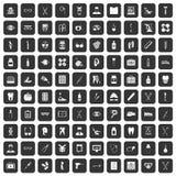 100 medical accessories icons set black. 100 medical accessories icons set in black color isolated vector illustration Stock Images