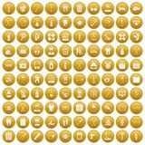 100 medical accessories icons set gold. 100 medical accessories icons set in gold circle isolated on white vectr illustration Stock Photos