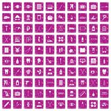 100 medical accessories icons set grunge pink. 100 medical accessories icons set in grunge style pink color isolated on white background vector illustration Royalty Free Stock Photos