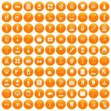 100 medical accessories icons set orange. 100 medical accessories icons set in orange circle isolated vector illustration Royalty Free Stock Image