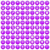 100 medical accessories icons set purple. 100 medical accessories icons set in purple circle isolated vector illustration Royalty Free Stock Photos
