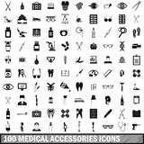 100 medical accessories icons set, simple style. 100 medical accessories icons set in simple style for any design vector illustration Stock Photography